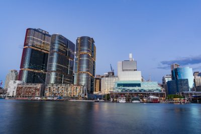 Barangaroo point and Darling Harbour at dusk. Sydney cityscape
